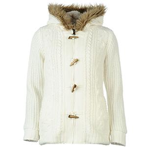 소울칼 여성 토글 라인드 니트 후드 윈터 화이트 (SoulCal Toggle Lined Knitted Hoody Ladies Winter White)