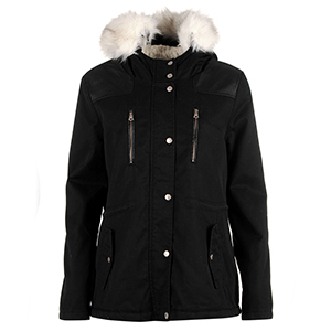 소울칼 여성 포우 퍼 파카 블랙 (SoulCal Faux Fur Parka Ladies Black)